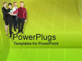 PowerPoint template displaying a plain green colored tile with four people holding a globe
