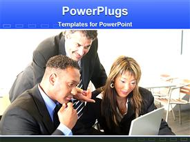 PowerPoint template displaying three people on suit staring at an open report