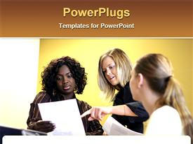 PowerPoint template displaying three ladies having a meeting and looking at reports