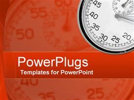 PowerPoint template displaying depiction of a plain orange background with a stop watch