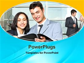 PowerPoint template displaying business people smiling and discussing as they look into book