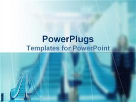 PowerPoint template displaying two corporate ladies standing on a blurry blue background
