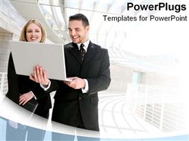PowerPoint template displaying a person holding a laptop with building in the background