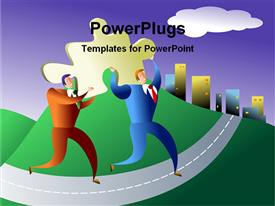PowerPoint template displaying two people going for business deal in the background.