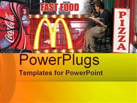 PowerPoint template displaying a man sitting and eating in a fast food restaurant