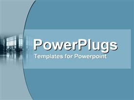 PowerPoint template displaying wide and well-lit business foyer in the background.