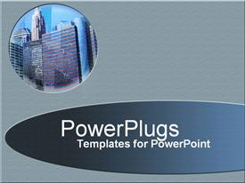 PowerPoint template displaying small circular depiction of business office buildings, skyscrapers on gray background