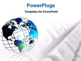 PowerPoint template displaying wire frame metallic globe and a keyboard