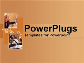 PowerPoint template displaying work and discussion within a small business in the background.