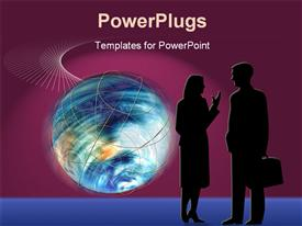 PowerPoint template displaying world Business Concept with Earth in motion as business man and woman chat in the background.