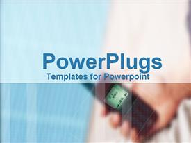 PowerPoint template displaying a plain blue tile with a blurry hand holding a cell phone