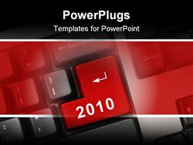 Computer keyboard with 2010 key - holiday concept powerpoint theme