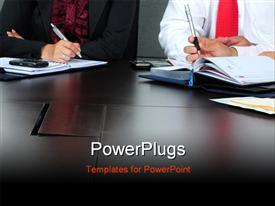PowerPoint template displaying business people working in an office. Cropped depiction on hands in the background.
