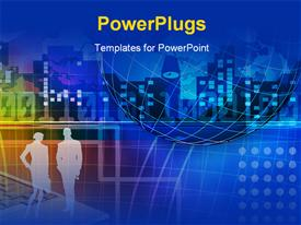 PowerPoint template displaying abstract global business and information technologies background