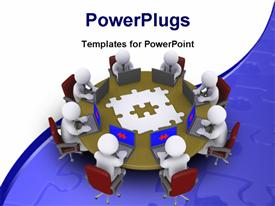 Businessmen Around Table Searching For Solution template for powerpoint