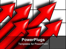Six red arrows pointing upward on a grid powerpoint design layout