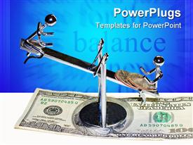 PowerPoint template displaying balancing act of a business relationship in the background.