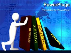 PowerPoint template displaying a person holding the books and map in the background