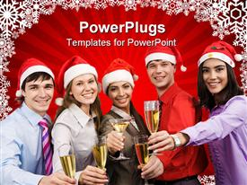 PowerPoint template displaying a number of people celebrating Christmas