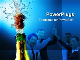 Bottle of champagne with splashes over blue background powerpoint theme
