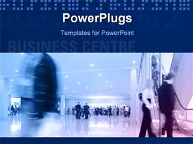 PowerPoint template displaying people in a new modern business center