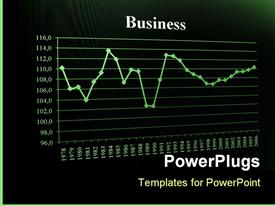 PowerPoint template displaying business chart and data from stock market showing success in the background.