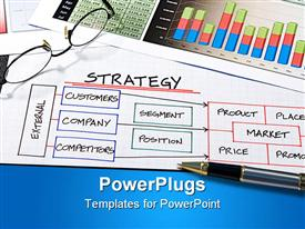 PowerPoint template displaying business strategy organizational charts and graphs for success in the background.