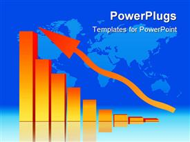 PowerPoint template displaying decreasing Bar Chart - Business Data Graph With World Map in the background.