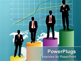 PowerPoint template displaying a group of professionals standing on a graph