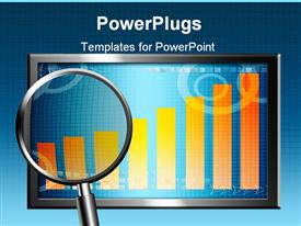 PowerPoint template displaying orange bar over blue background on screen. Business conceptual in the background.
