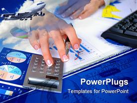 PowerPoint template displaying pair of hands holding a pen and pressing a calculator