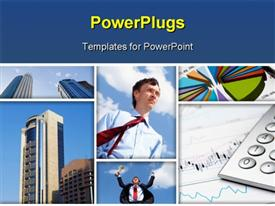 PowerPoint template displaying a number of people along with skyscrapers