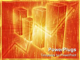 PowerPoint template displaying spreadsheet data and business charts in glowing wireframe style in the background.