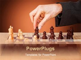 PowerPoint template displaying business female hand moving a chess piece in the background.