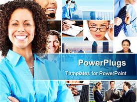 PowerPoint template displaying lots of tiles showing business and corporate settings with a smiling lady