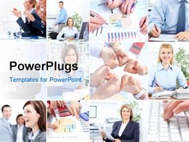 Business people working in the modern office powerpoint design layout