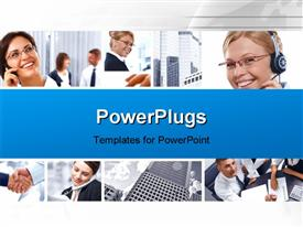 PowerPoint template displaying depiction of office workers and customer support agent