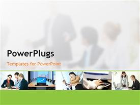 PowerPoint template displaying five tiles showing different aspects of a business meeting
