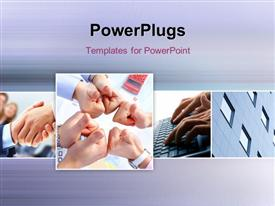 PowerPoint template displaying a number of thumbs up with greyish background and place for text