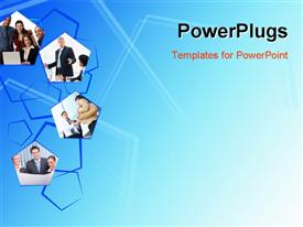 PowerPoint template displaying a number of pictures with bluish background and place for text