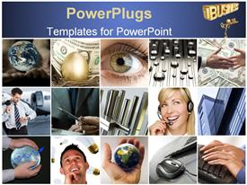 PowerPoint template displaying various people in a number of pictures along with technology