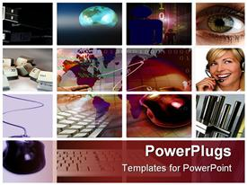 PowerPoint template displaying lots of tiles showing different communication and business materials