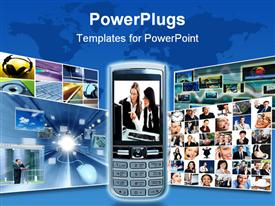 PowerPoint template displaying a cell phone with a number of pictures in the background