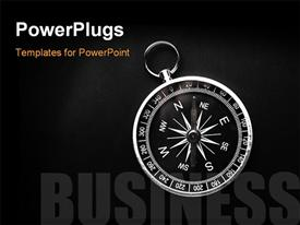 PowerPoint template displaying bright compass on black background with text BUSINESS depicting business direction