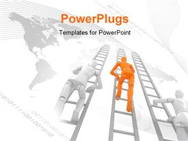 PowerPoint template displaying leaders with 3D characters climbing and a world map background