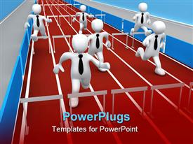 PowerPoint template displaying employees running  in a competition with hurdles trying to beat one another