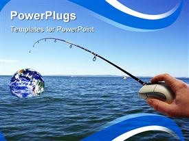 PowerPoint template displaying man hand holding computer mouse with attached fishing pole capturing planet earth from the ocean water