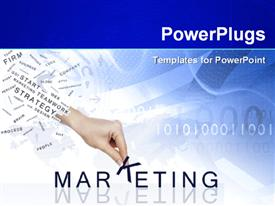 PowerPoint template displaying marketing depiction with hand putting together word MARKETING over binary numbers