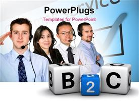 PowerPoint template displaying four customer care agents with alphabet blocks forming a