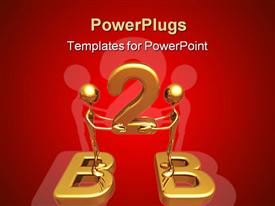 PowerPoint template displaying two gold figures standing on letter Bs holding number 2